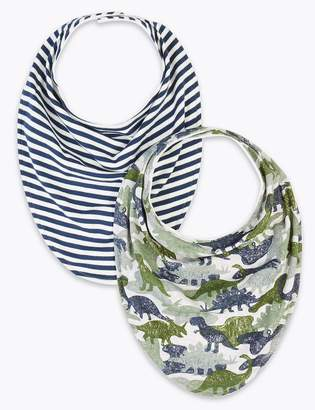 Marks and Spencer 2 Pack Easy Dressing Cotton Printed Bibs