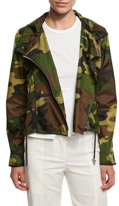 Veronica Beard Hero Hooded Cropped Camo Jacket, Olive $495 thestylecure.com