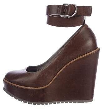 Brunello Cucinelli Leather Platform Wedges w/ Tags