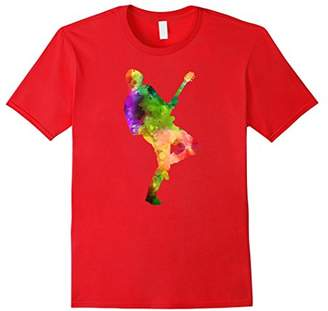 Watercolor Splash Love Guy Rocking Out With Guitar Tee Shirt