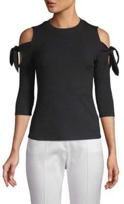 Rebecca Taylor Cold-Shoulder Quarter-Sleeve Top