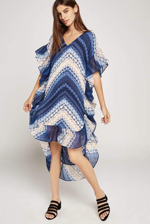 Shibori Chevron Asymmetrical Midi Dress