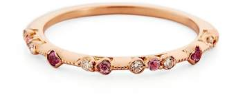 Kataoka Diamond & Pink Sapphire Dotted Band Ring