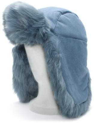 7337ee0f3492 at Daniel Footwear · Charlotte Simone Helmet Head Blue Faux Fur Trapper Hat