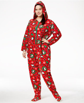 Hello Kitty Plus Size Holiday Hooded Footed Jumpsuit $50 thestylecure.com