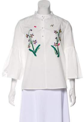 Muveil Embroidered Long Sleeve Top