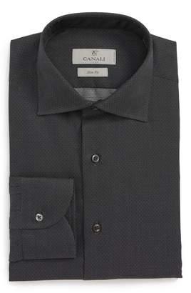 Canali Slim Fit Print Dress Shirt