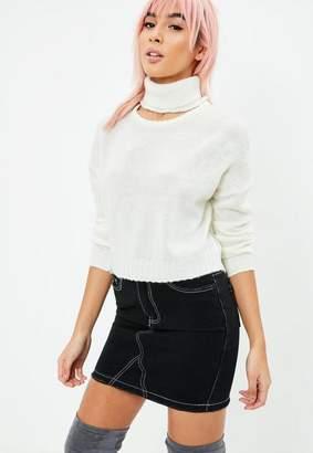 Missguided Cream Turtle Neck Crop Sweater