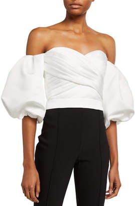 Flor et.al Off-the-Shoulder Balloon-Sleeve Prince Duchess Satin Crop Top