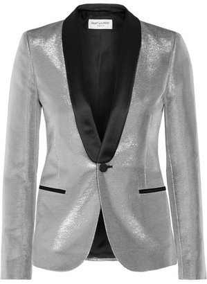 Saint Laurent - Satin-trimmed Lamé Tuxedo Blazer - Silver $2,990 thestylecure.com