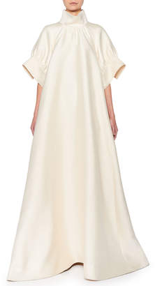 The Row Alba Mock-Neck Silk Trapeze Gown