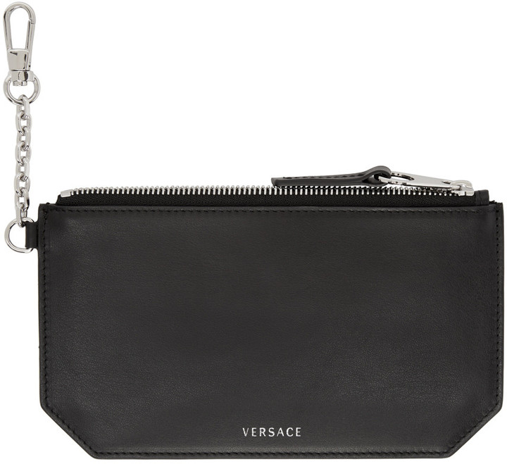 Versace Black Clip-On Chain Coin Pouch