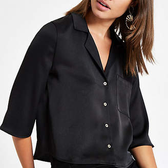 River Island Womens Black button crop shirt