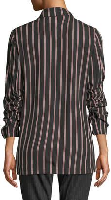 Max Studio Striped 3/4-Sleeve Button-Front Blazer