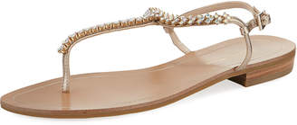 Pelle Moda Baxley Crystal T-Strap Leather Sandals