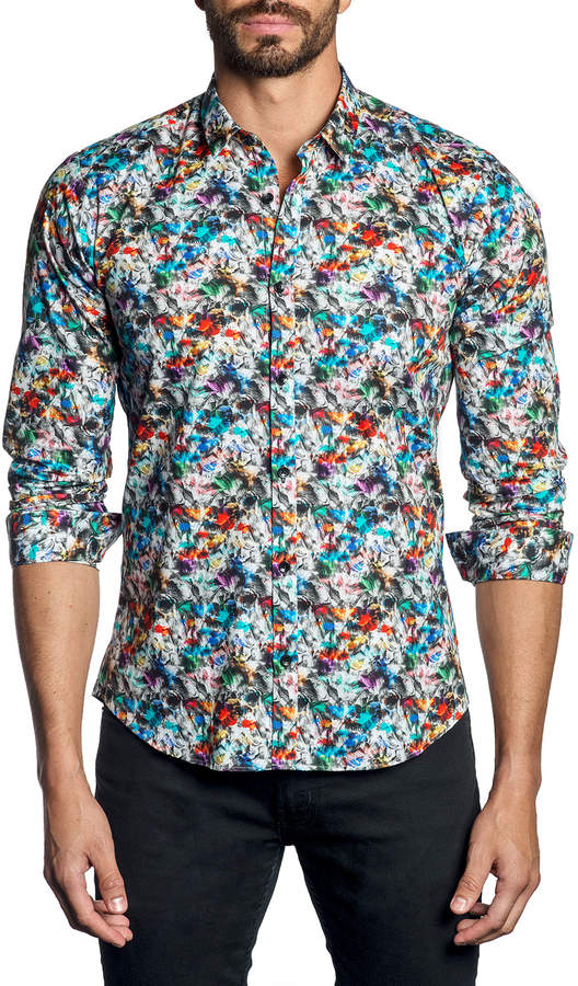 Jared Lang Men's Semi-Fitted Abstract-Print Sport Shirt