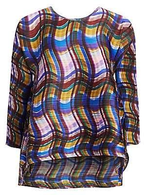 Pleats Please Issey Miyake Women's Stratum Check Textured Top