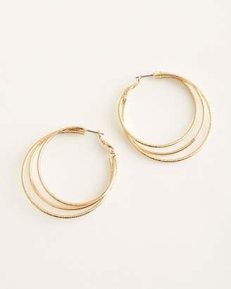 Chico's Chicos Gold-Tone Sparkle Multi-Hoop Earrings