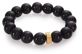 Nest Black Horn Beaded Stretch Bracelet
