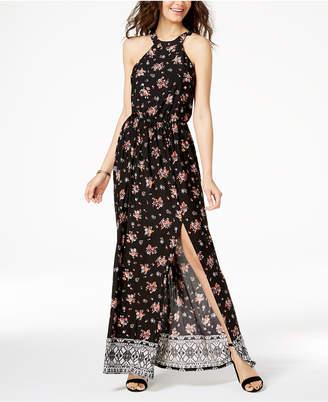 Trixxi Juniors' Printed Side-Slit Maxi Dress