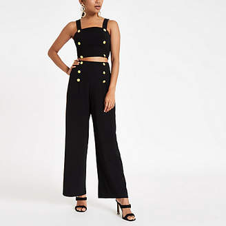 River Island Petite black wide leg high waisted pants