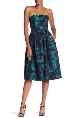 London Dress Company Split Front Jacquard Dress