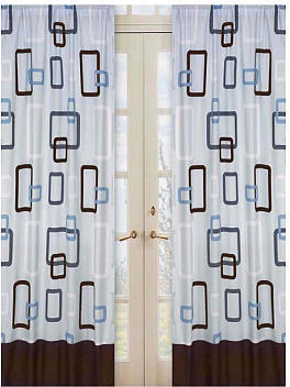 JoJo Designs Sweet Blue and Brown Geo Collection Window Panels