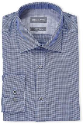Michael Kors Blue Bay Mini Houndstooth Regular Fit Dress Shirt