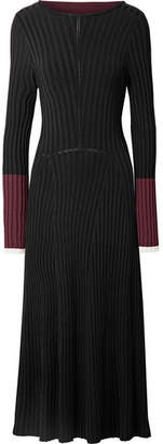 La Ligne - Tie-back Color-block Ribbed-knit Midi Dress - Black
