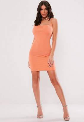 4a262bd6140 Missguided Orange Slinky Cowl Neck Mini Dress