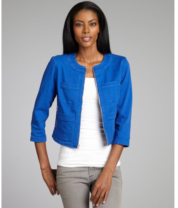 Ellen Tracy cerulean cotton denim patch pocketed cropped jacket