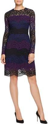 Elie Tahari Womens Ophelia Dress Lace Mixed Media Wear to Work Dress Black