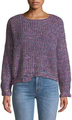 Few Moda Ripped Chic Shimmer-Knit Pullover Sweater