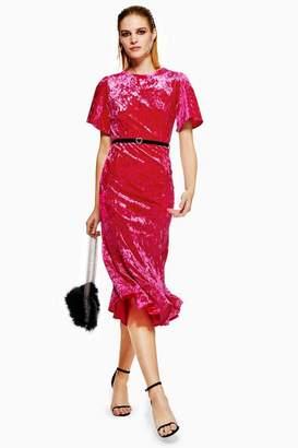 Topshop Womens Petite Velvet Bleted Midi Dress