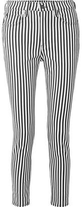 Rag & Bone Striped High-rise Skinny Jeans - Black