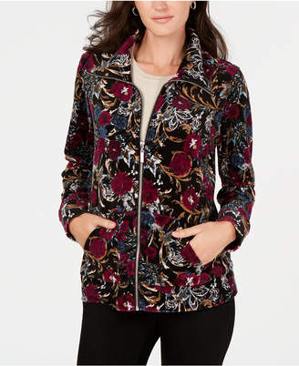 Karen Scott Petite Velour Floral Jacket
