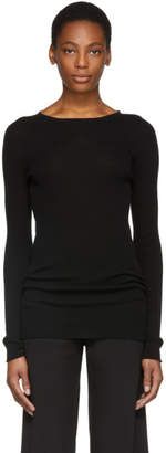 Rick Owens Black Ribbed Round Neck Pullover