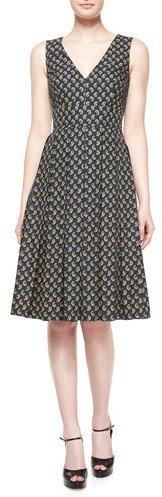 MICHAEL Michael KorsMichael Kors Sleeveless Paisley Fit-&-Flare Dress, Navy/Peridot/Multi