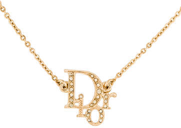 Christian Dior  Christian Dior Crystal Logo Pendant Necklace