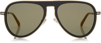 Jimmy Choo CARL Black Aviator Sunglasses with Gold Mirror Lenses