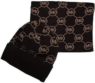 Michael Kors Women's Jetset Circle Logo Knit Scarf & Hat Set, Chocolate