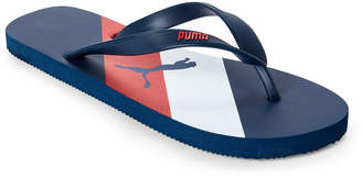 Puma Navy & Red Striped Logo Flip Flops