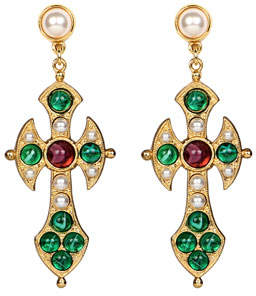 Ben-Amun Narrow Cross Dangle Earrings