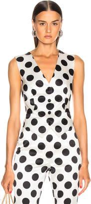Dolce & Gabbana Polka Dot Vest in White   FWRD