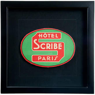One Kings Lane Vintage Framed Hotel Scribe Paris Luggage Label