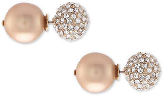 Nina Swarovski Pearl Pave & Polished Ball Stud Front & Back Earrings, Created for Macy's