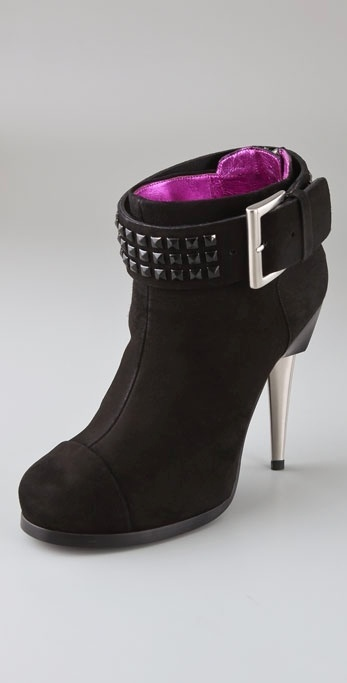 Barbara Bui Detachable Stud Strap High Heel Suede Booties