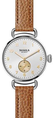 Shinola The Canfield 38mm Alligator Strap Watch, Dark Camel