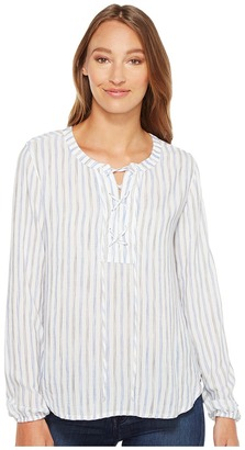 Mod-o-doc - Multicolor Rayon Stripe Mandarin Collar Stripe Lace-Up Shirt Women's Clothing $84 thestylecure.com