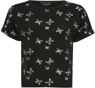 M&Co Teens' butterfly print t-shirt
